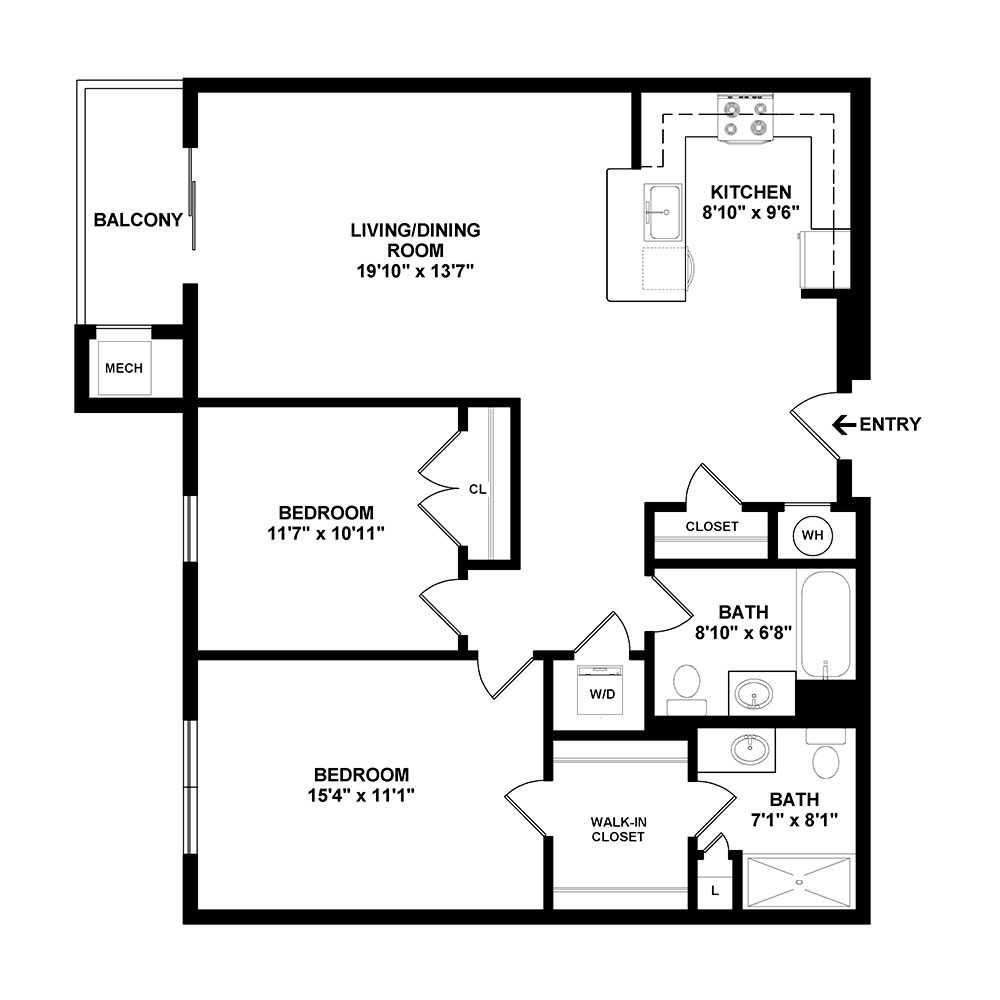 Leister 2 Bedroom | 2 Bath 1,041 sq. ft. $1,820–$1,890