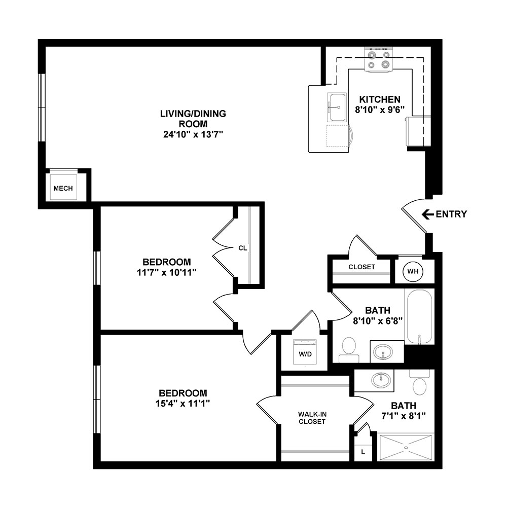 Obrecht 2 Bedroom | 2 Bath 1,108 sq. ft. $1,934