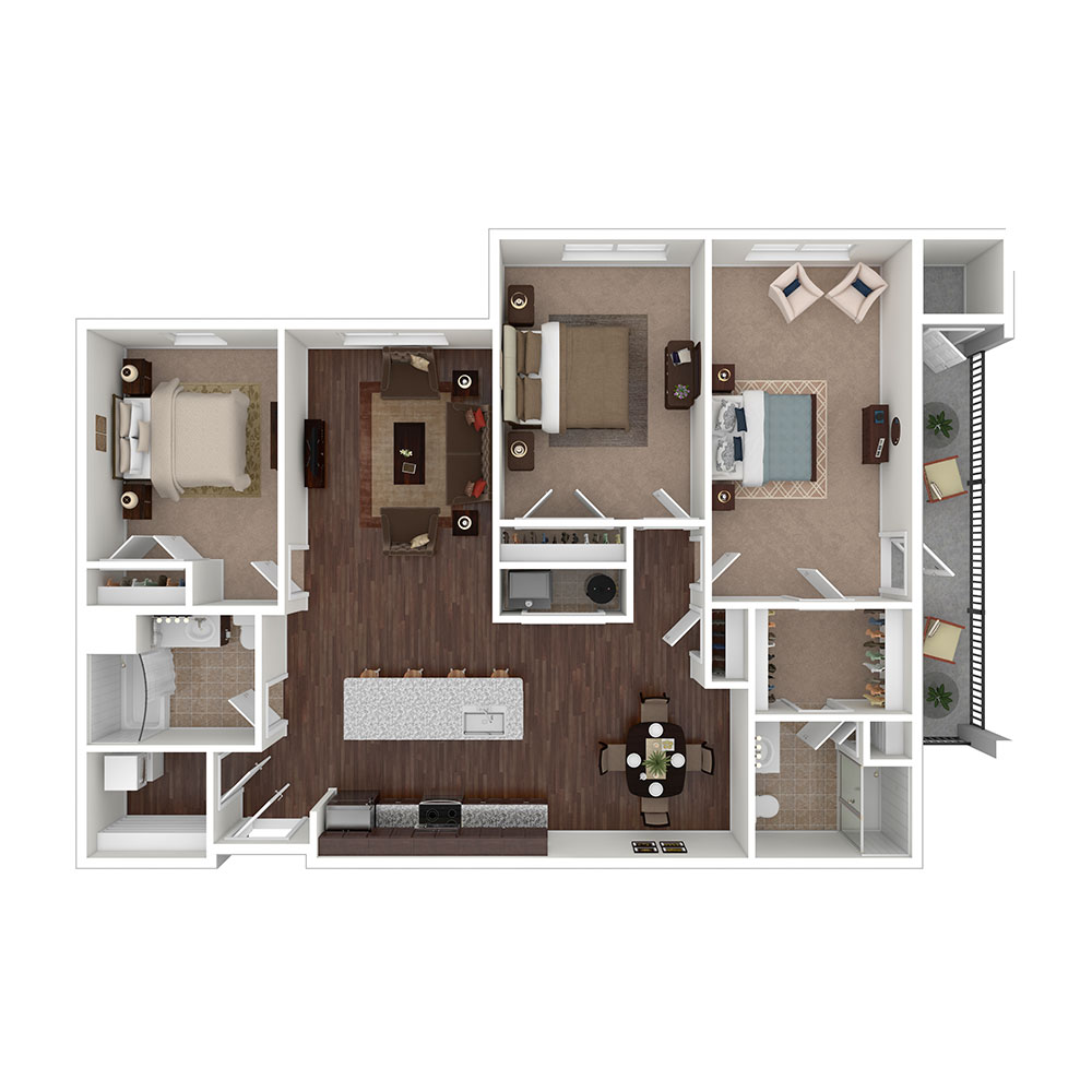 Old Liberty 3 Bedroom | 2 Bath 1,419 sq. ft. $2,380–$2,390